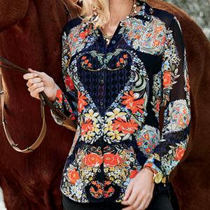 Cabi Amour Blouse Black Floral Button Down Blouse